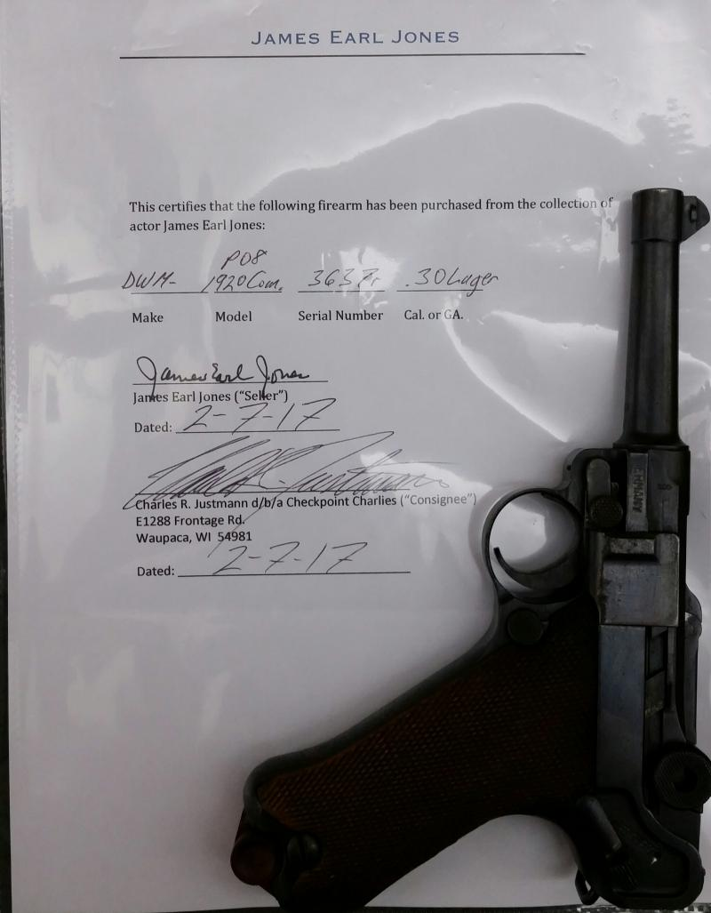 Check out this piece of history. .. Luger once owned by James Earl Jones $2000